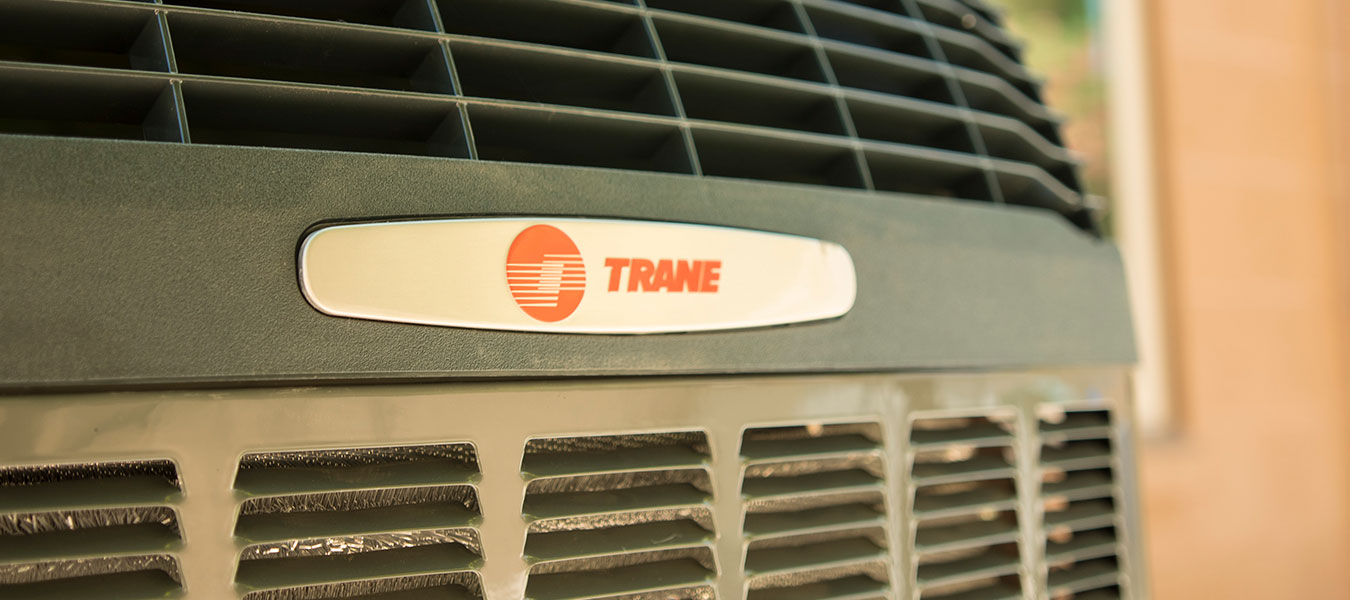 Trane unit close up of logo
